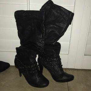 Black high heel boots